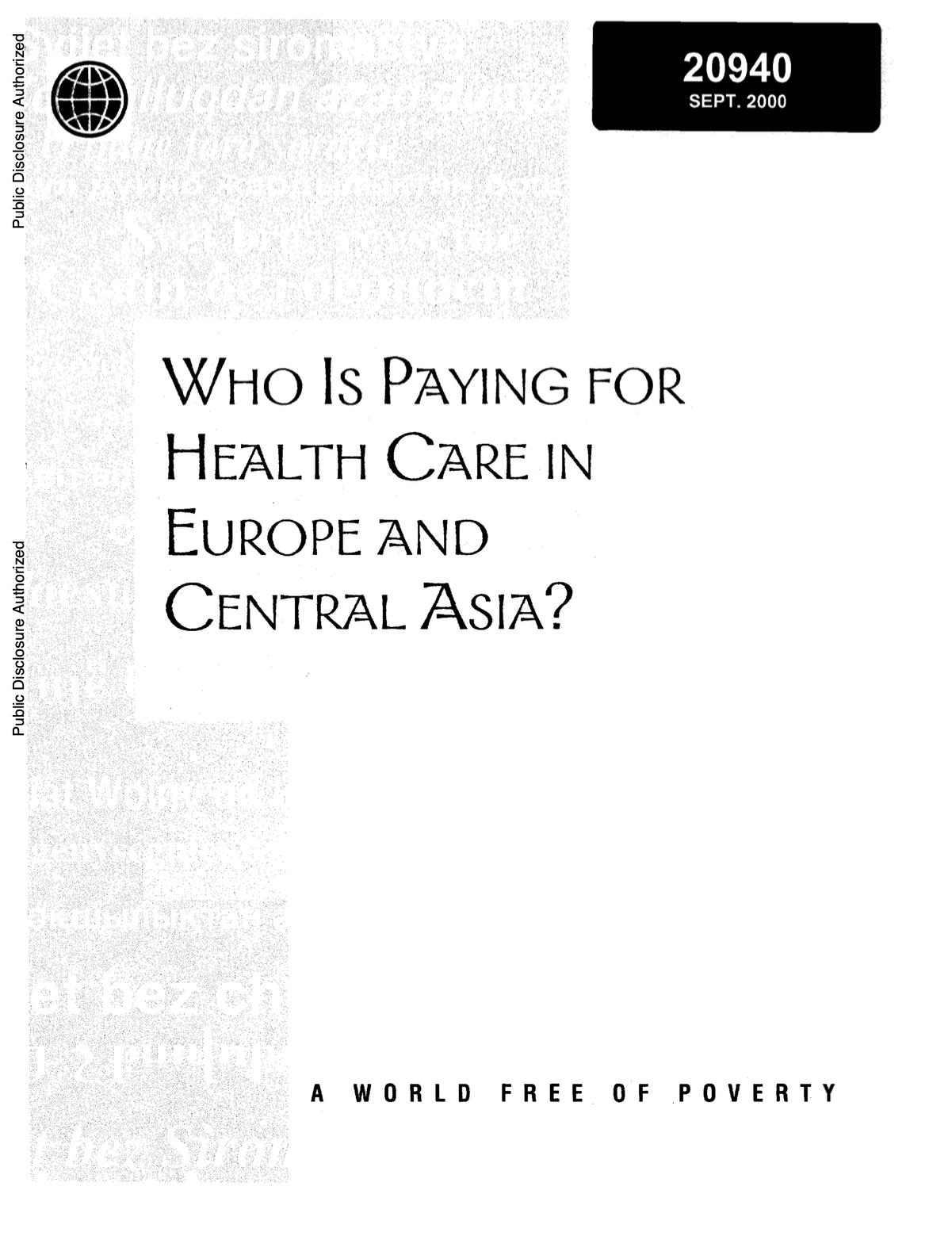 Who is Paying for Health Care In Europe And Central Asia: Book Cover